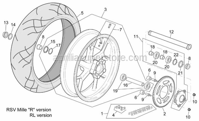Aprilia - Wheel spindle nut M25x1,5