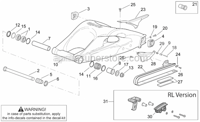 Aprilia - Rear int.sw.arm piv.bush