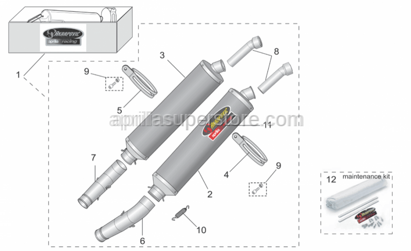 Aprilia - Silencer revision kit Ak.