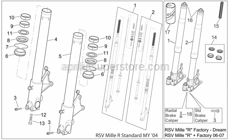 Aprilia - Hub+RH fork leg