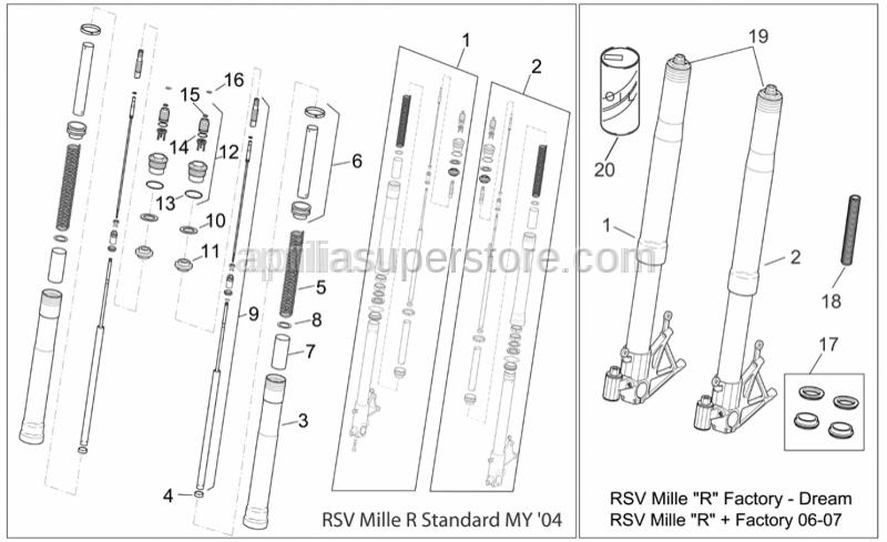 Aprilia - Front fork revision kit