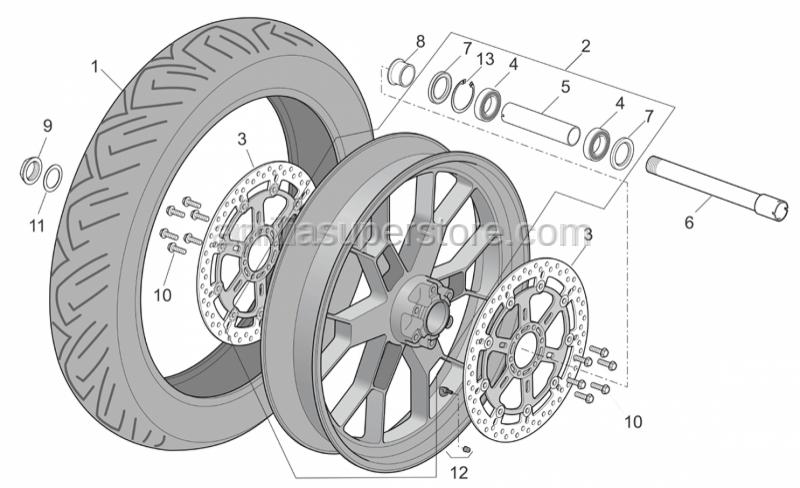 Aprilia - Front RH wheel, outerspacer