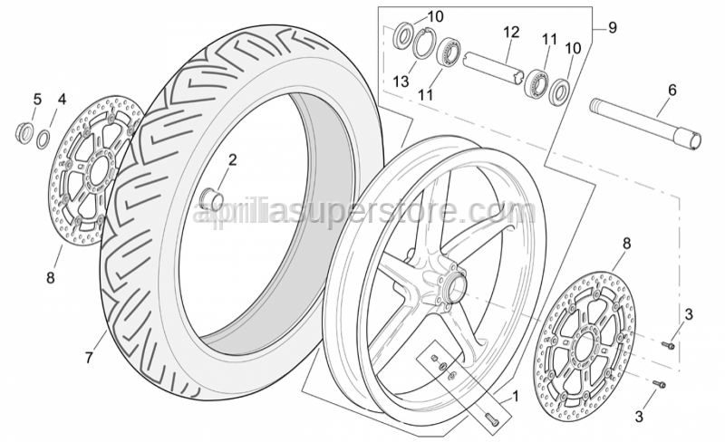 Aprilia - Wheel spindle nut