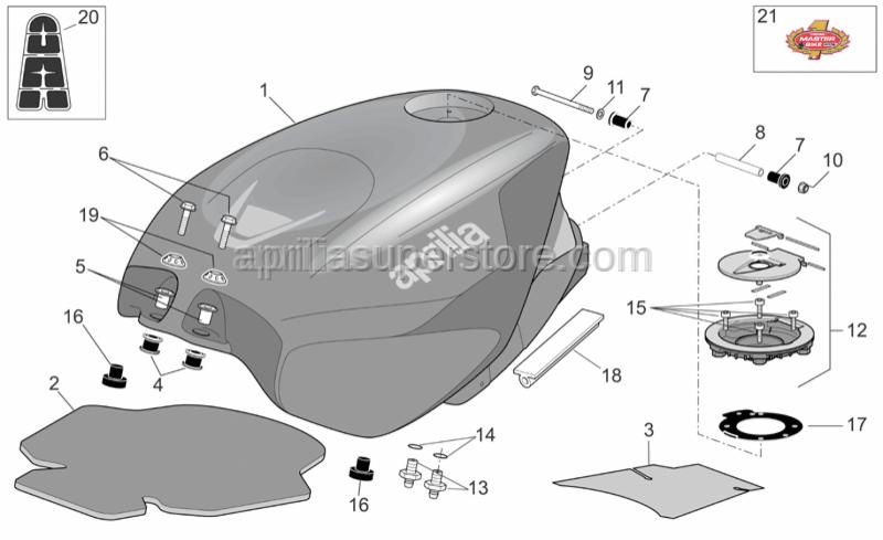Aprilia - Fuel tank cover, transp.