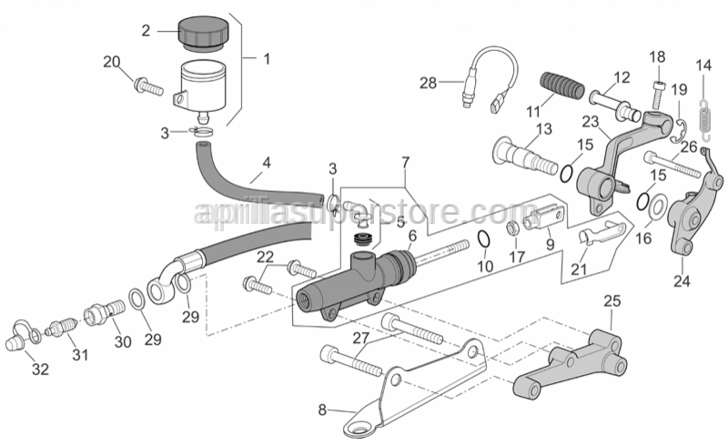 Aprilia - Rear brake pump union