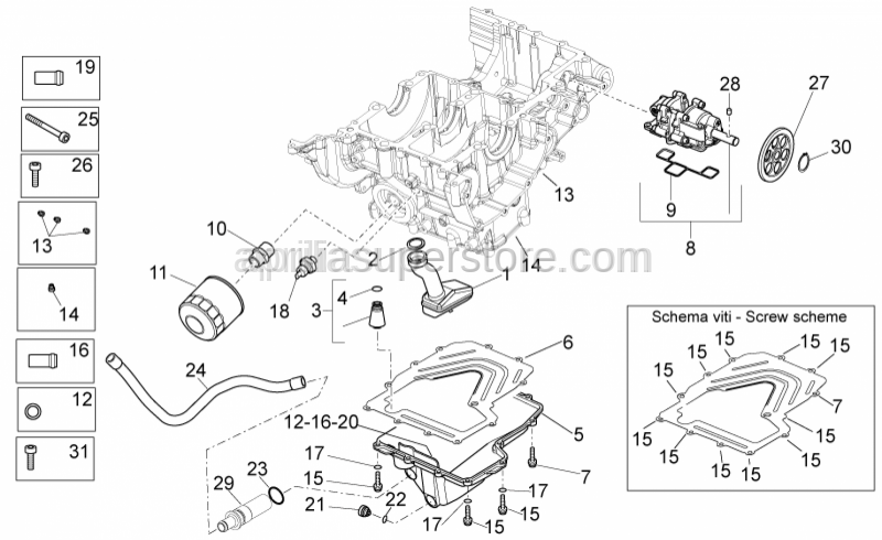Aprilia - nut for securing flywheel M6X25 T.C.E.I