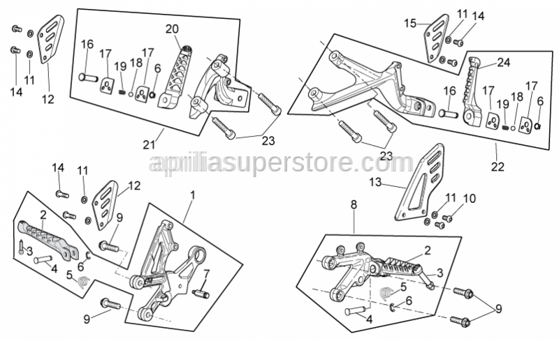 Aprilia - Front footrest, pair