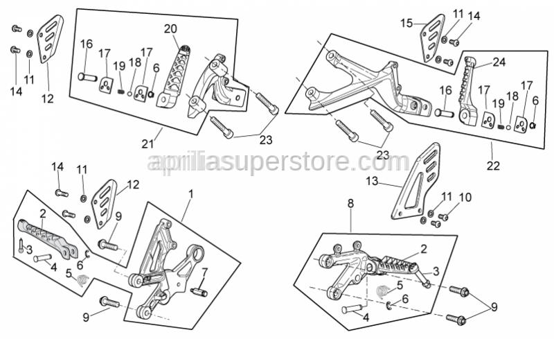 Aprilia - RH Rear footrest