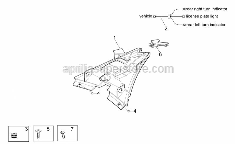 Aprilia - Taillight wiring harn.
