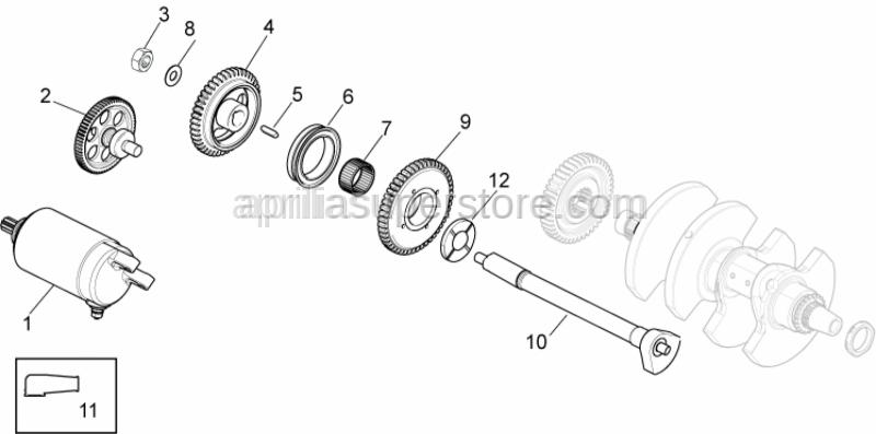 Aprilia - Gear shaft+spring cpl.