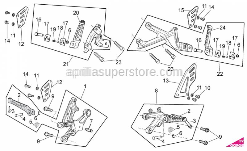 Aprilia - Rear footrest, RH cpl