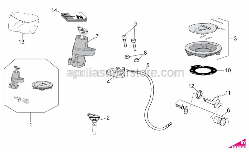 Aprilia - Fuel filler cap and lock