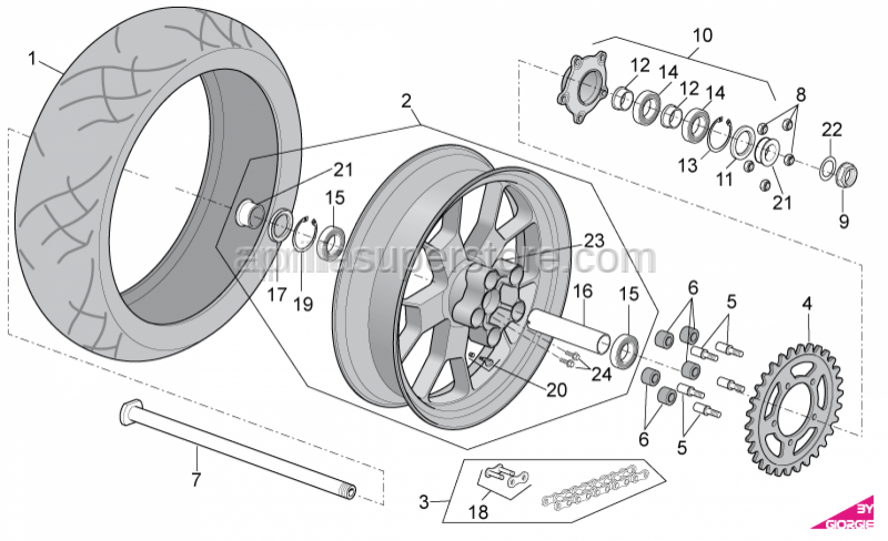 Aprilia - Low self-locking nut