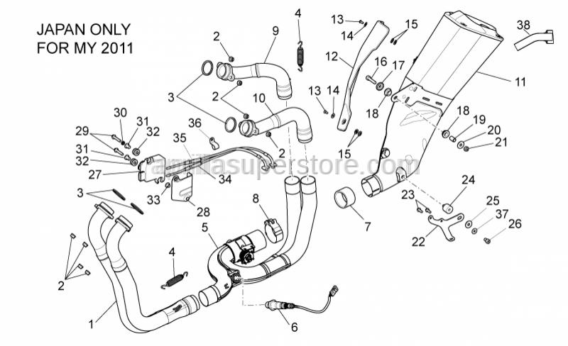 Aprilia - RH rear exhaust pipe