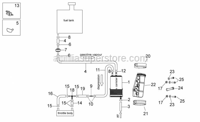 Aprilia - White hose clip d.13x6