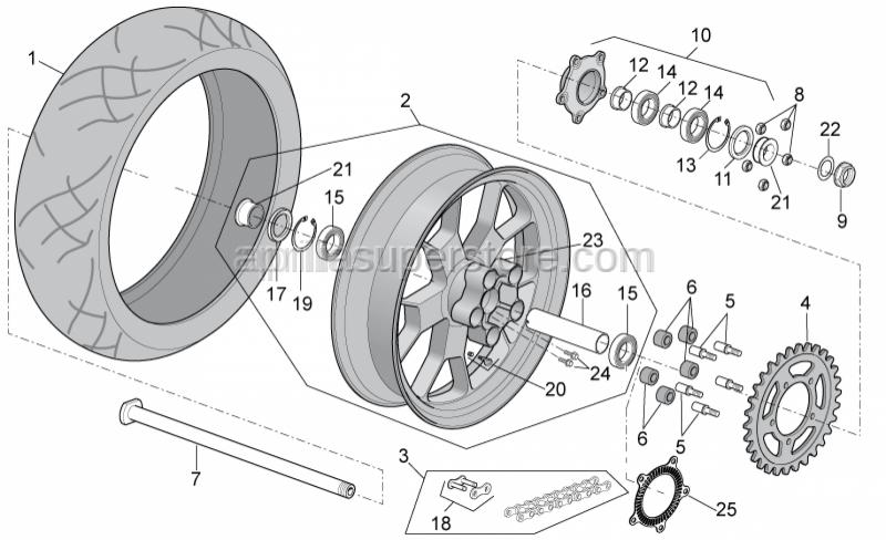 Aprilia - Rear wheel, gold