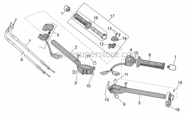 Aprilia - Right half handlebar d.51,1