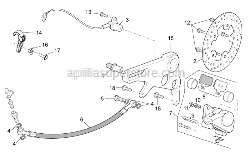 Aprilia - Screw w/ flange M8x18