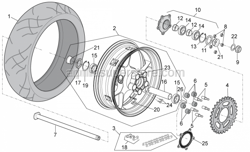 Aprilia - Rear wheel spring drive holder