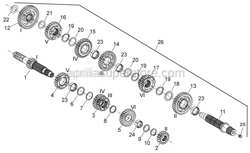 Aprilia - 3rd-4th pinion gear Z=20/22