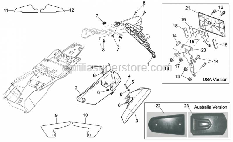 Aprilia - RH silencer cover