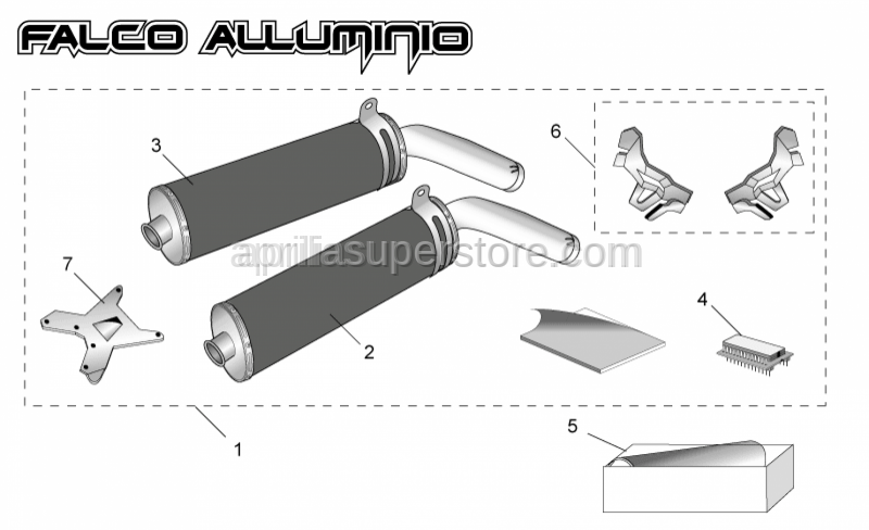 Aprilia - LH silencer+support clamp alu