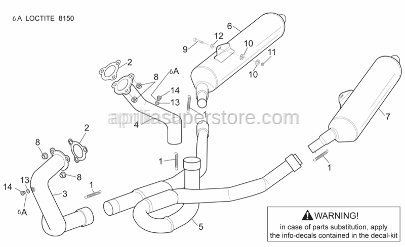 Aprilia - Rear exhaust pipe