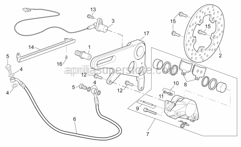 Aprilia - Rear brake pipe support