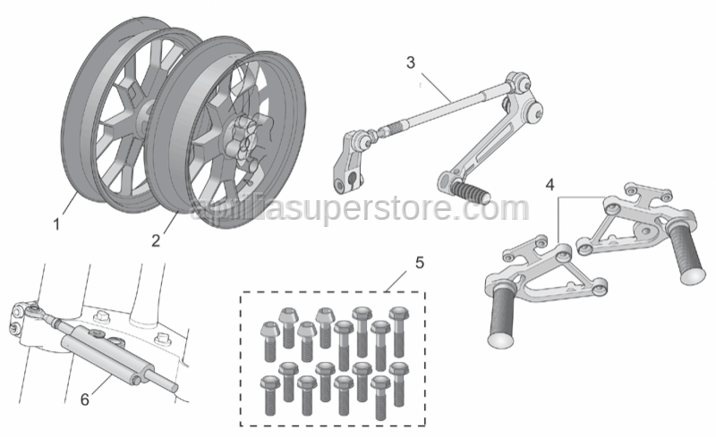 Aprilia - Screw kit, 66 pieces Inox