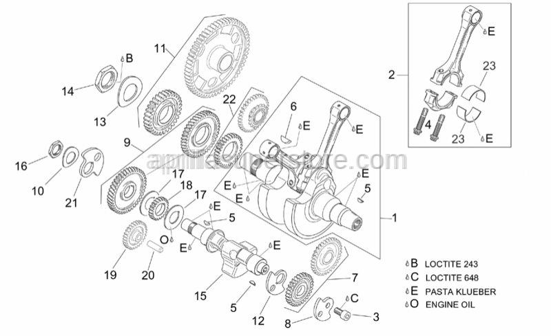 Aprilia - Timing system gear cpl.