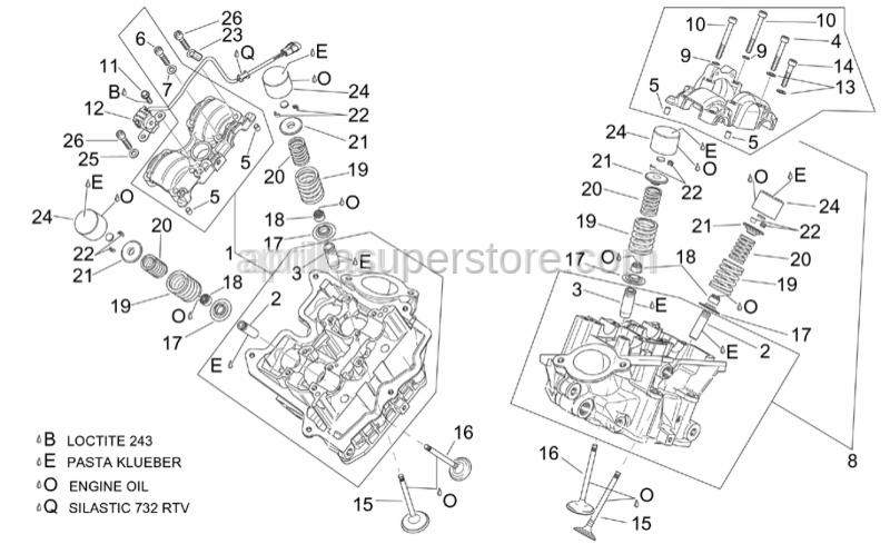 Aprilia - Rear cylinder head cpl.