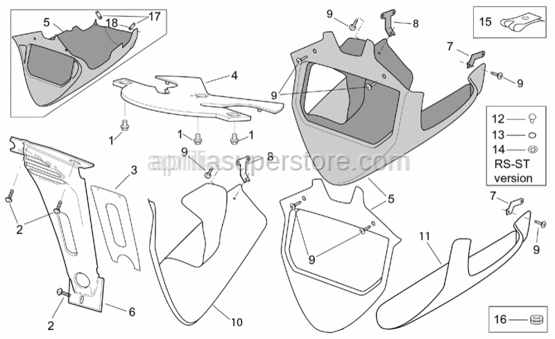 Aprilia - Front fairing lower lockup, c.