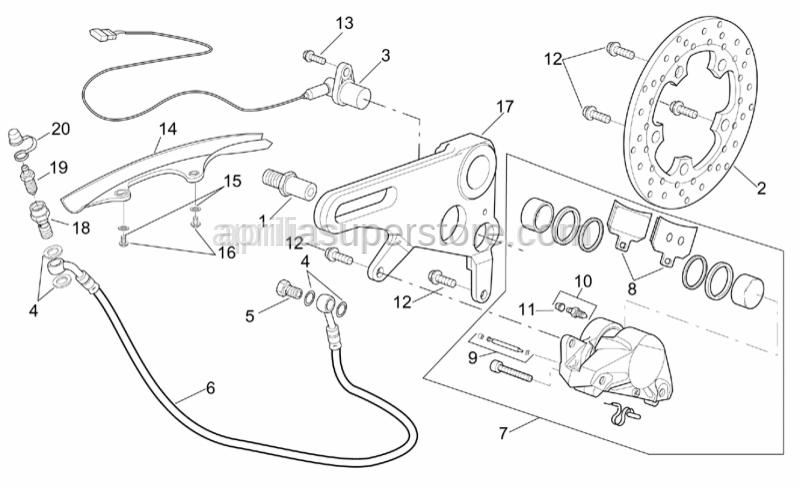 Aprilia - Rear brake caliper, red