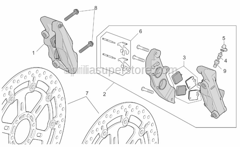 Aprilia - RH Front brake caliper, gold