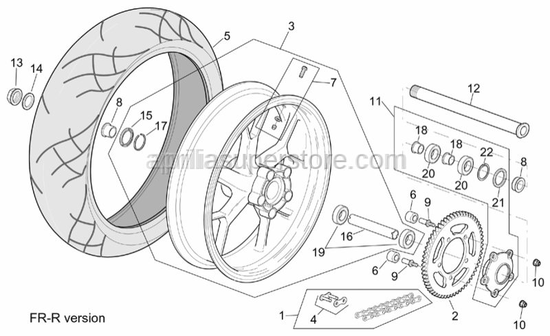 Aprilia - Rear wheel spacer
