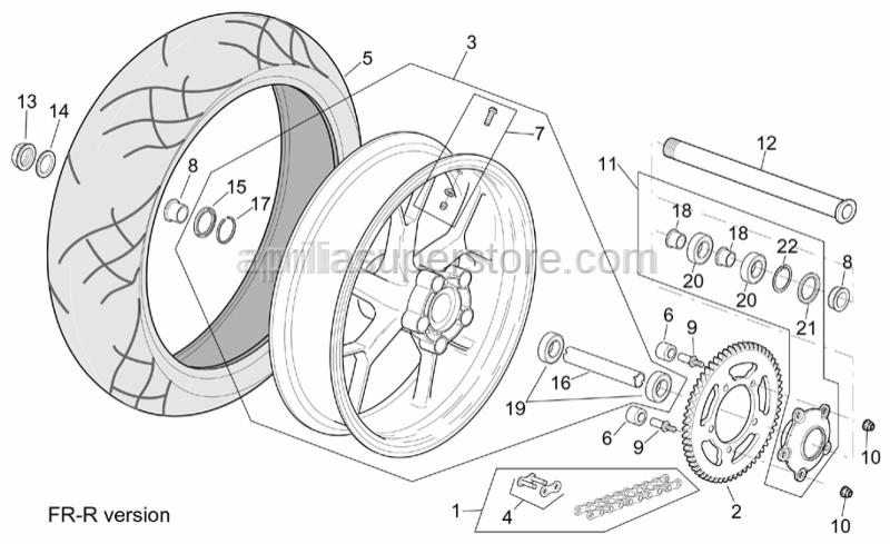Aprilia - Rear wheel spindle