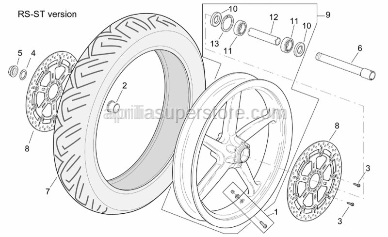 Aprilia - Front wheel, grey