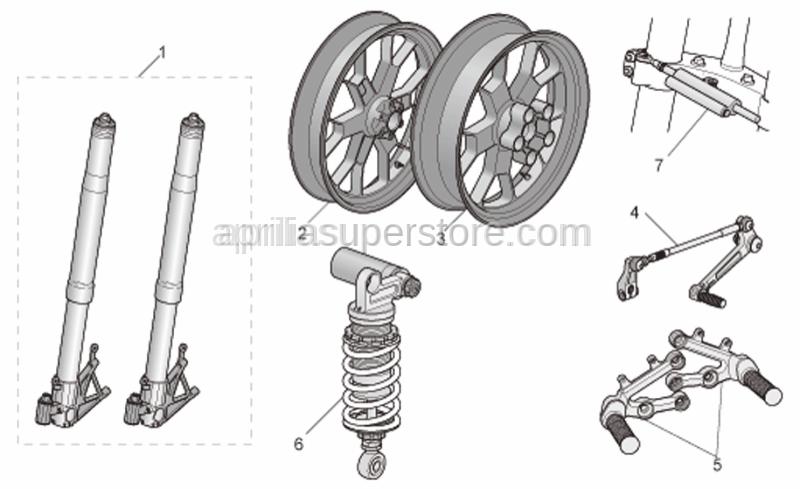 Aprilia - Rear wheel, magnesium RED