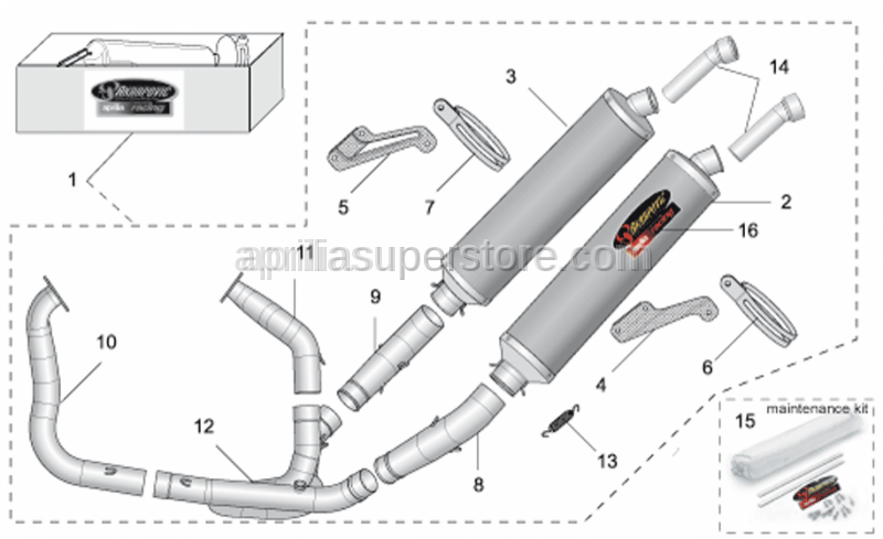 Aprilia - RH silencer support clamp