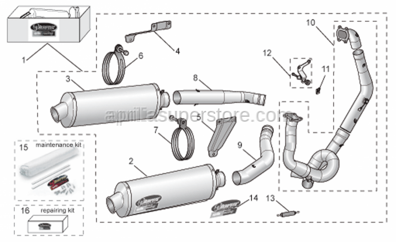 Aprilia - LH manifold pipe Titan