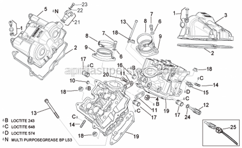 Aprilia - Rear valves cover
