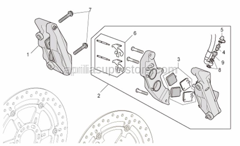 Aprilia - LH Front brake caliper, gold