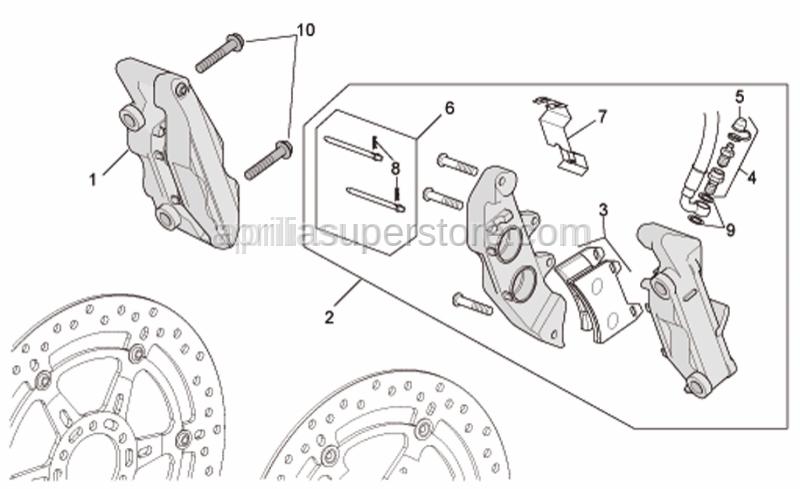 Aprilia - LH Front brake caliper, gold P432