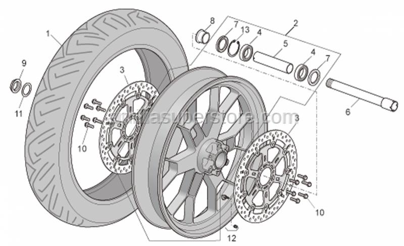 Aprilia - Wheel spindle nut
