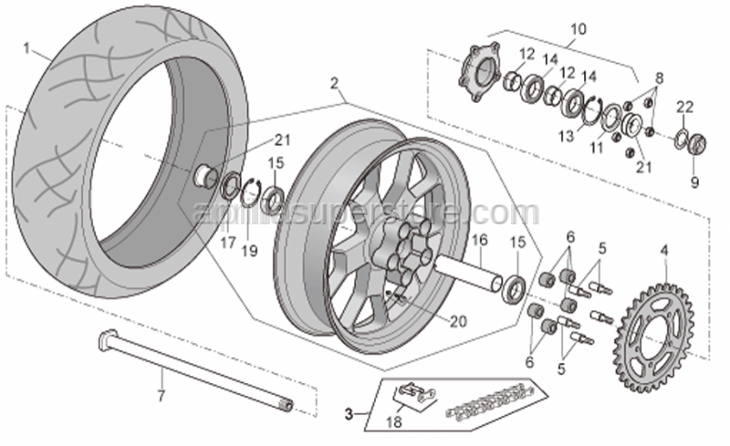 Aprilia - Rear tyre 180/55 ZR 17 Pirelli