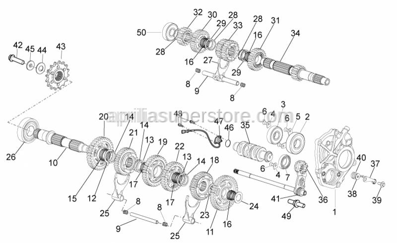 Aprilia - 3rd-4th pinion gear Z=20/Z=22