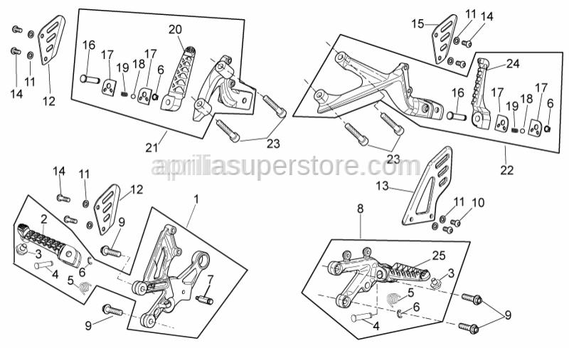 Aprilia - LH rear footrest