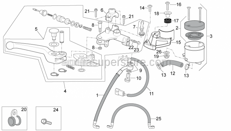 Aprilia - COVER PUMP/FOOT BRAKE PED