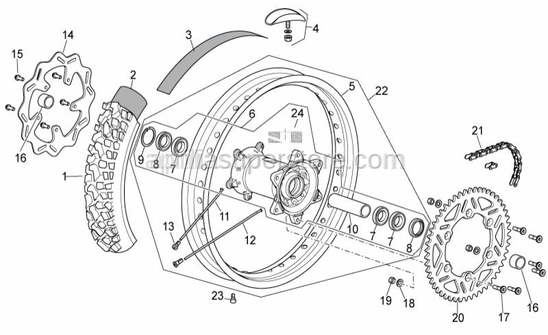 Aprilia - Rear wheel 2,15x19, Black