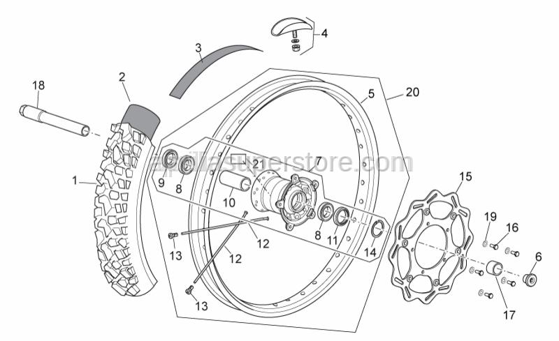 Aprilia - Front wheel 1,6x21''